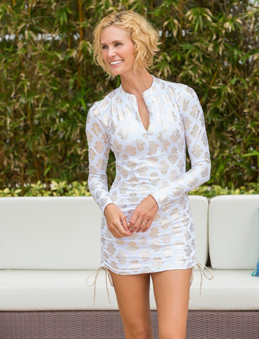847ab4ac10 Cabana Life Womens White and Gold Printed Ruched Rashguard Dress - 50+ UV  Protection