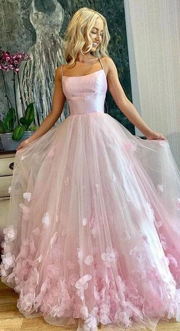 Light Pink Spaghetti Straps Long Prom Dresses, 3D Flowers Evening Dresses JKN4101