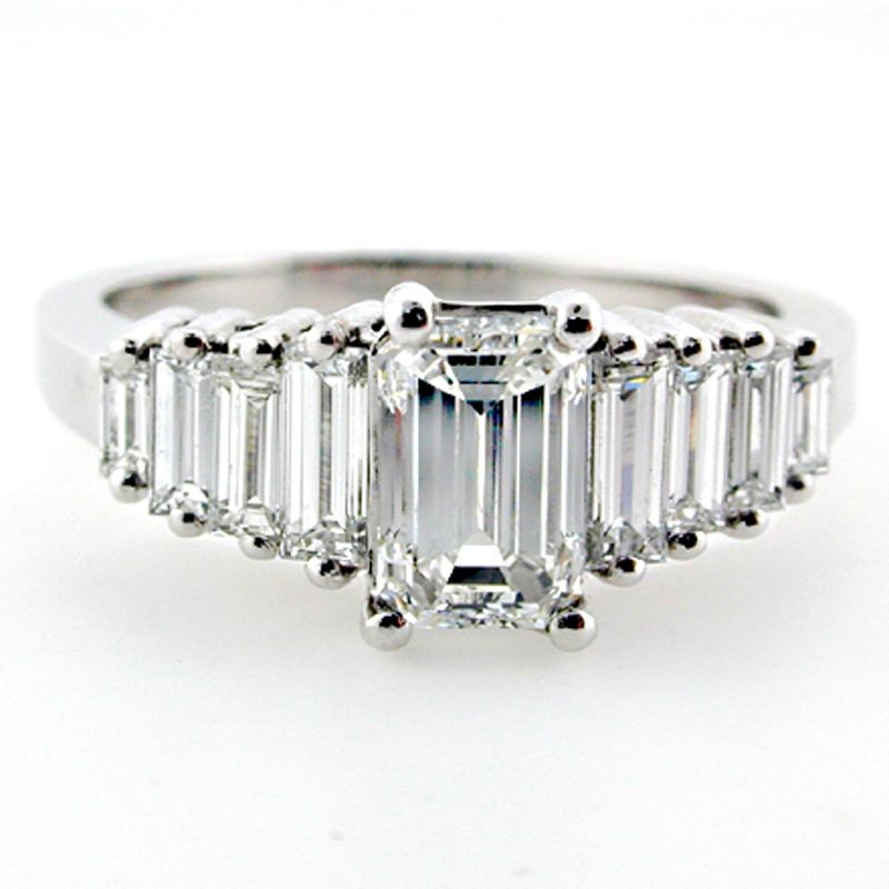 Emerald Cut Diamond Engagement Ring With Emerald Cut Baguette Side Diamonds  E6