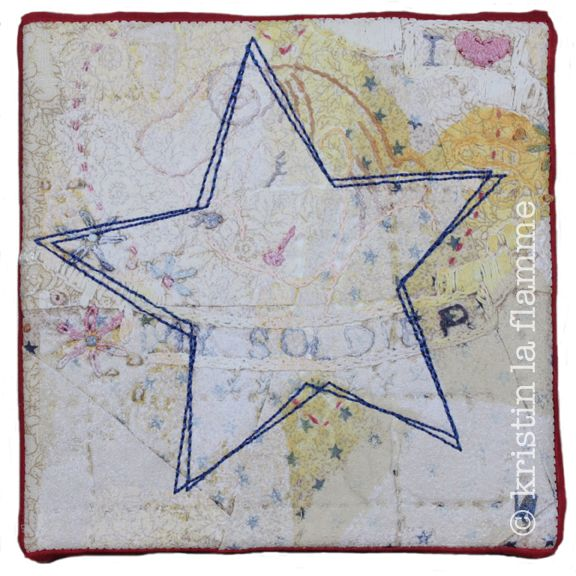 "Americana X, 5x5"" quilted art on canvas by Kristin La Flamme."