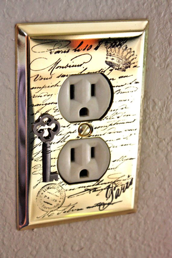 Electrical Outlet Plate Cover With Hand Stamped French Script Key