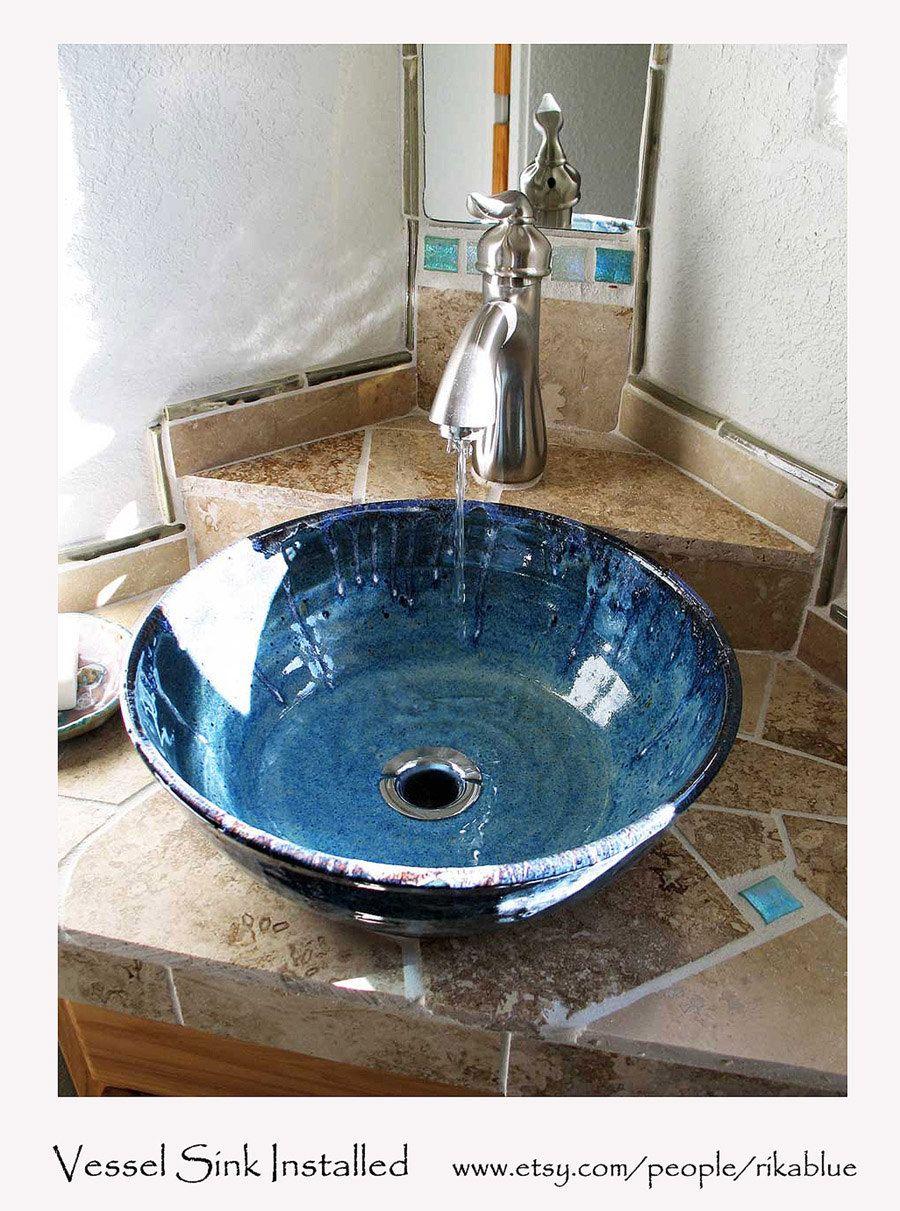blaues schiff waschbecken keramik von rikabluepottery auf etsy geschirr aus ton pinterest. Black Bedroom Furniture Sets. Home Design Ideas