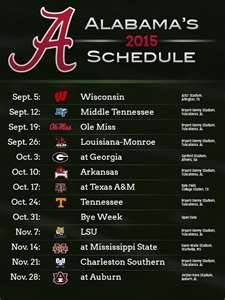 2015 Alabama Football Schedule Bing Images Alabama Football