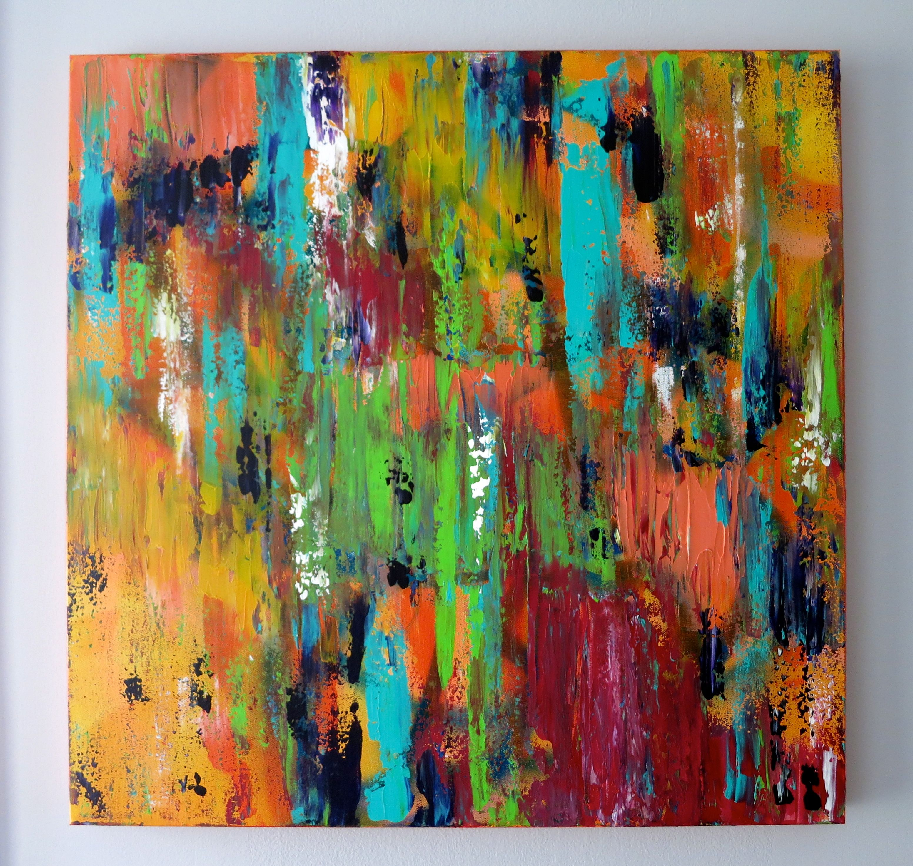 Yellow Aqua Blue Red Pink Orange Bright Abstract Colorful Acrylic Paint Wall Decor Birthday Gift Funky Art Canvas Large Painting