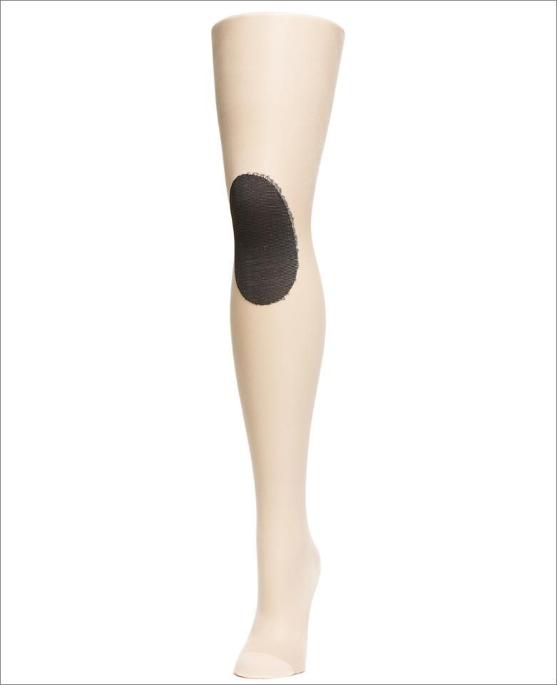 black and cream knee patch tights