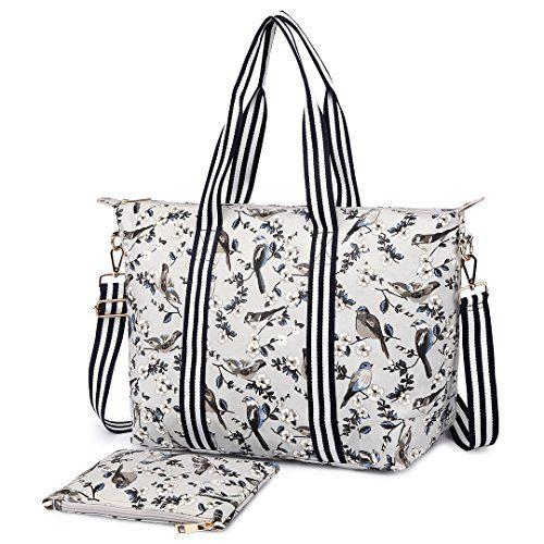 Miss Lulu 2 Pieces Women Grey Bird Flower Oilcloth Baby Diaper Changing Bag Set Large Shoulder Handbag $25.98