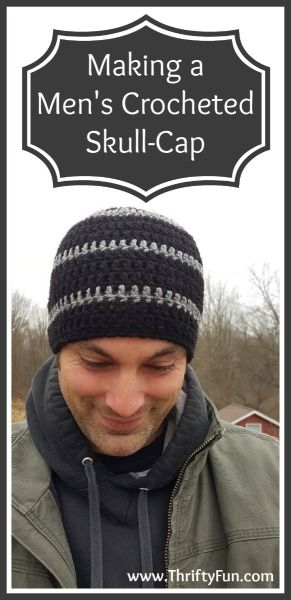 How to Make a Men\'s Crocheted Skull-Cap | Pinterest | Mütze, Häkeln ...