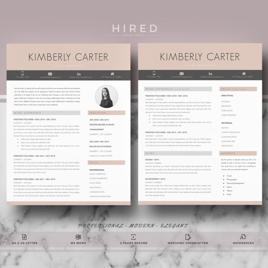 "Modern Resume Template for MS Word: ""Kimberly"" 