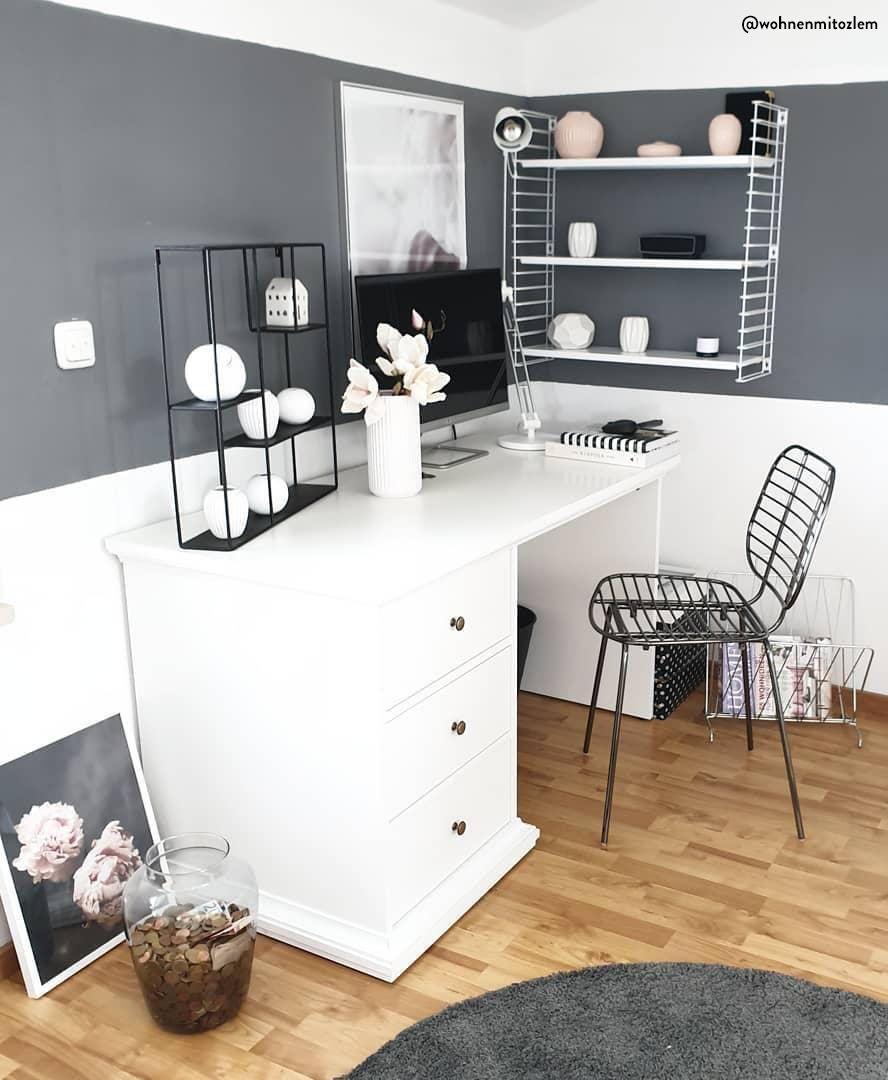 Bureau Noir Et Blanc un bureau noir et blanc, apaisant et idéal pour travailler