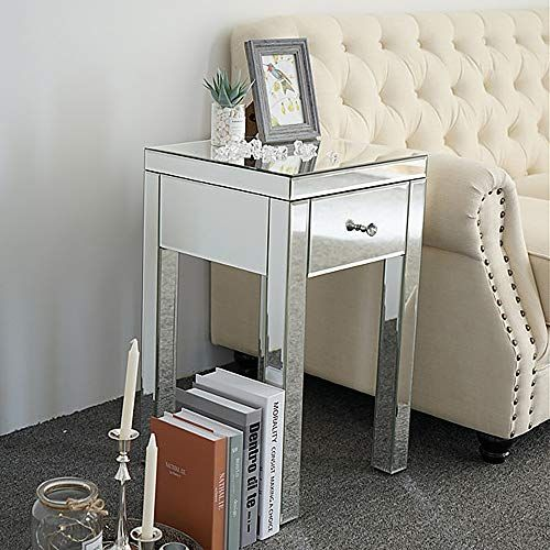 Best Modern Mirrored End Table With Drawer Vintage Styling 640 x 480