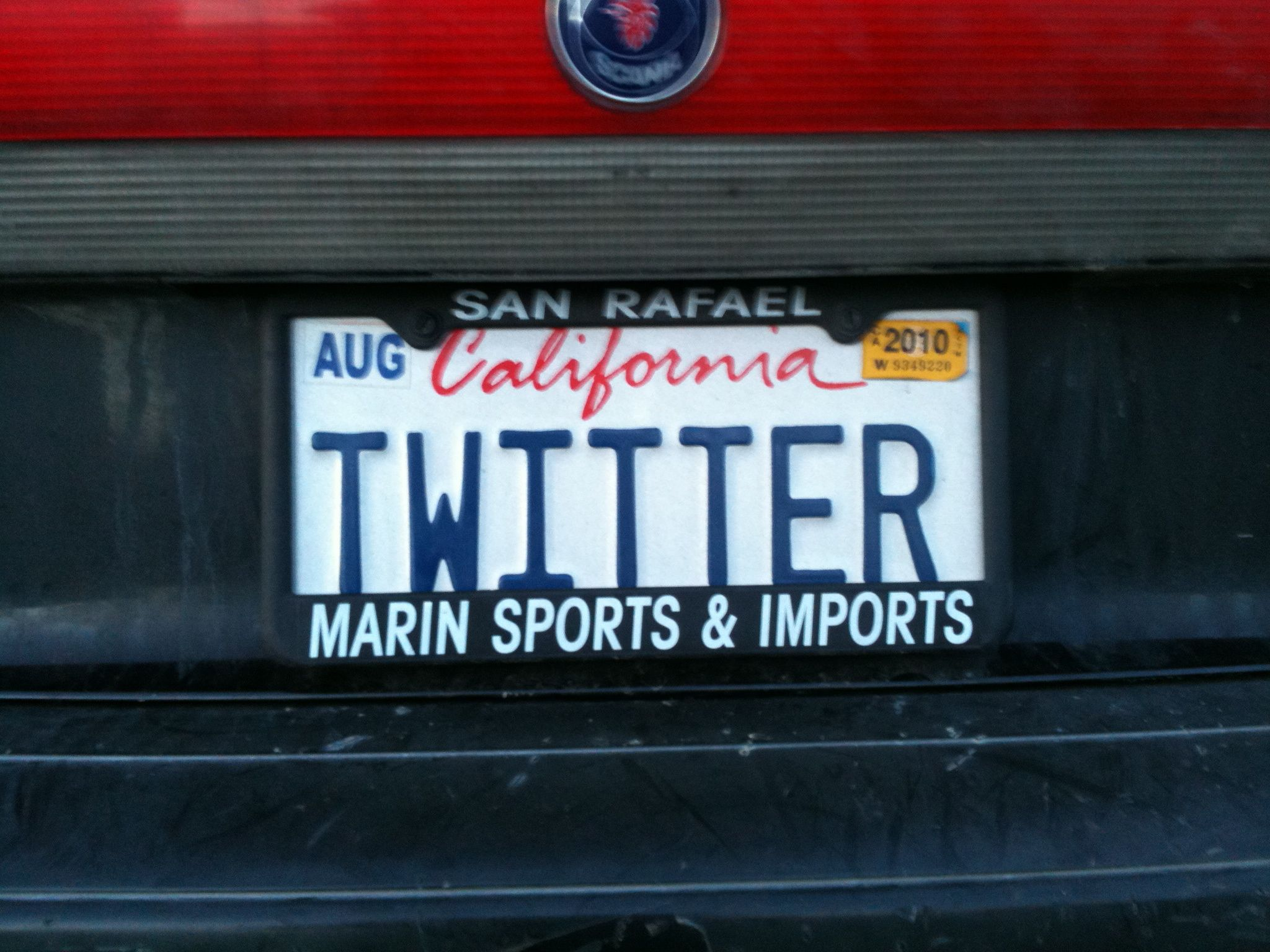 Apropos Of Nothing TWITTER License Plate Only Seven Characters