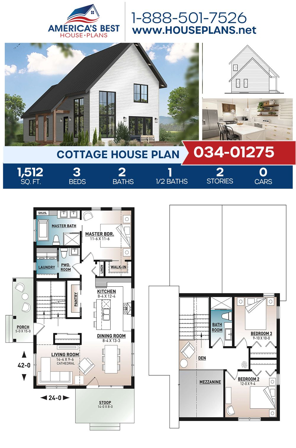 House Plan 034 01275 Cottage Plan 1 512 Square Feet 3 Bedrooms 2 5 Bathrooms Cottage House Plans Cottage Plan House Plans