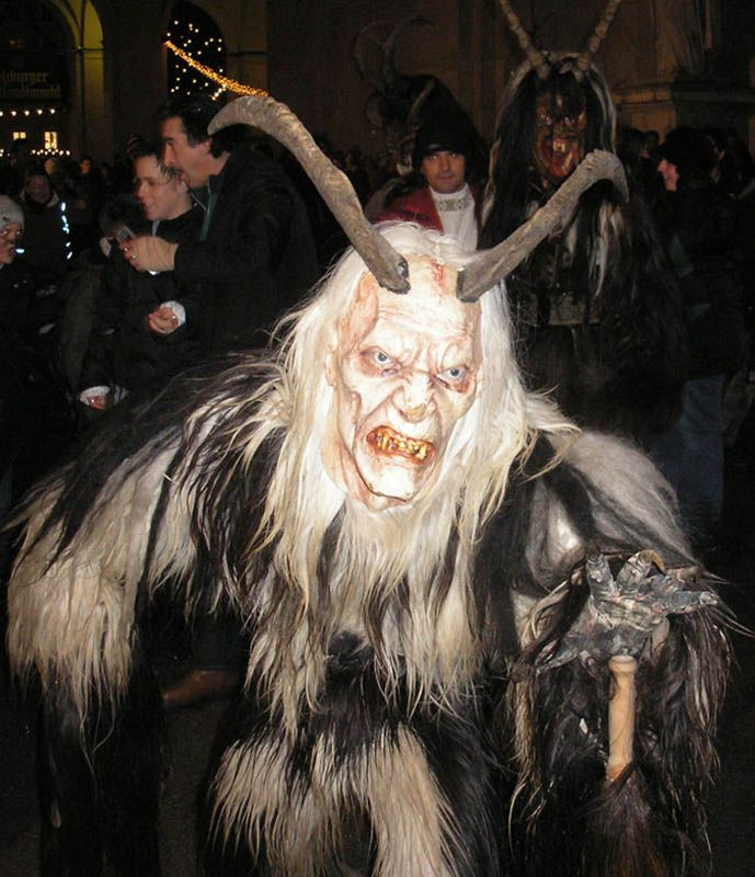 Seems legit... Krampus is a mythical creature recognized in Alpine countries. According to legend, Krampus accompanies Saint Nicholas during the Christmas season, warning and punishing bad children, in contrast to St. Nicholas, who gives gifts to good children. When the Krampus finds a particularly naughty child, it stuffs the child in its sack and carries the frightened child away to its lair, presumably to devour for its Christmas dinner.