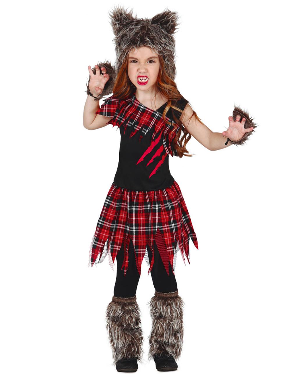 Disfraz de hombre lobo de campus niña Halloween en 2020