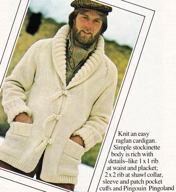 69b930d7c Vintage MENS Sweater Pattern - Shawl Collar Cardigan - Jacket Coat ...
