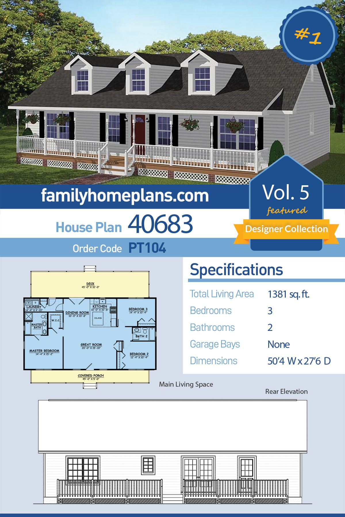 Southern Style House Plan 40683 With 3 Bed 2 Bath Family House Plans House Plans Country Style House Plans