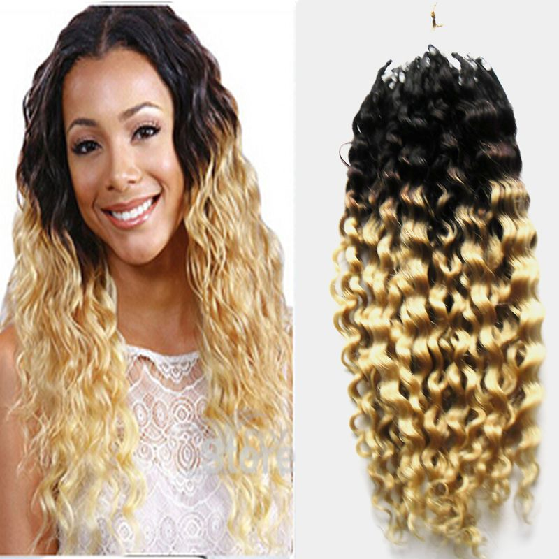 Double Drawn Mongolian Kinky Curly 1B/613 Ombre Curly Micro Ring Hair Extensions - Beauty #ombre #ombrehair #microhair #microringhair #microloophair