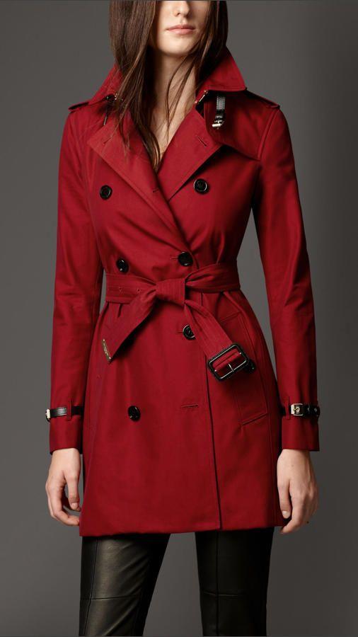 Burberry Cotton Gabardine Leather Detail Trench Coat #style #coat #marsala