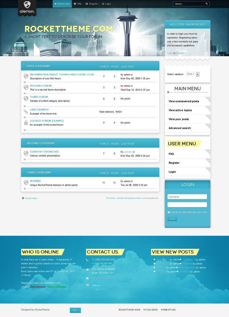 Alerion phpBB Style, Premium phpBB3 theme from RocketTheme | Forum ...