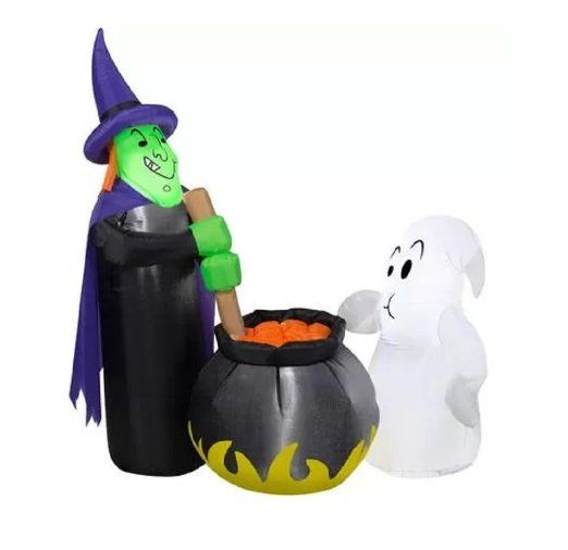 airblown halloween inflatable witchs brew witch cauldron ghost 4ft yard decor gemmy - Www Gemmy Com Halloween