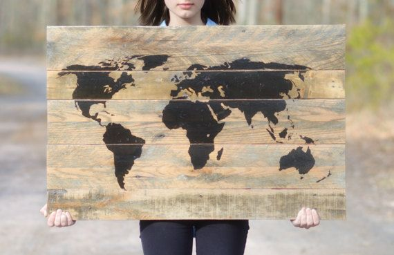 World map pallet wood wall art reclaimed wood large wood world map world map pallet wood wall art large wood world by starlightwoods gumiabroncs Choice Image