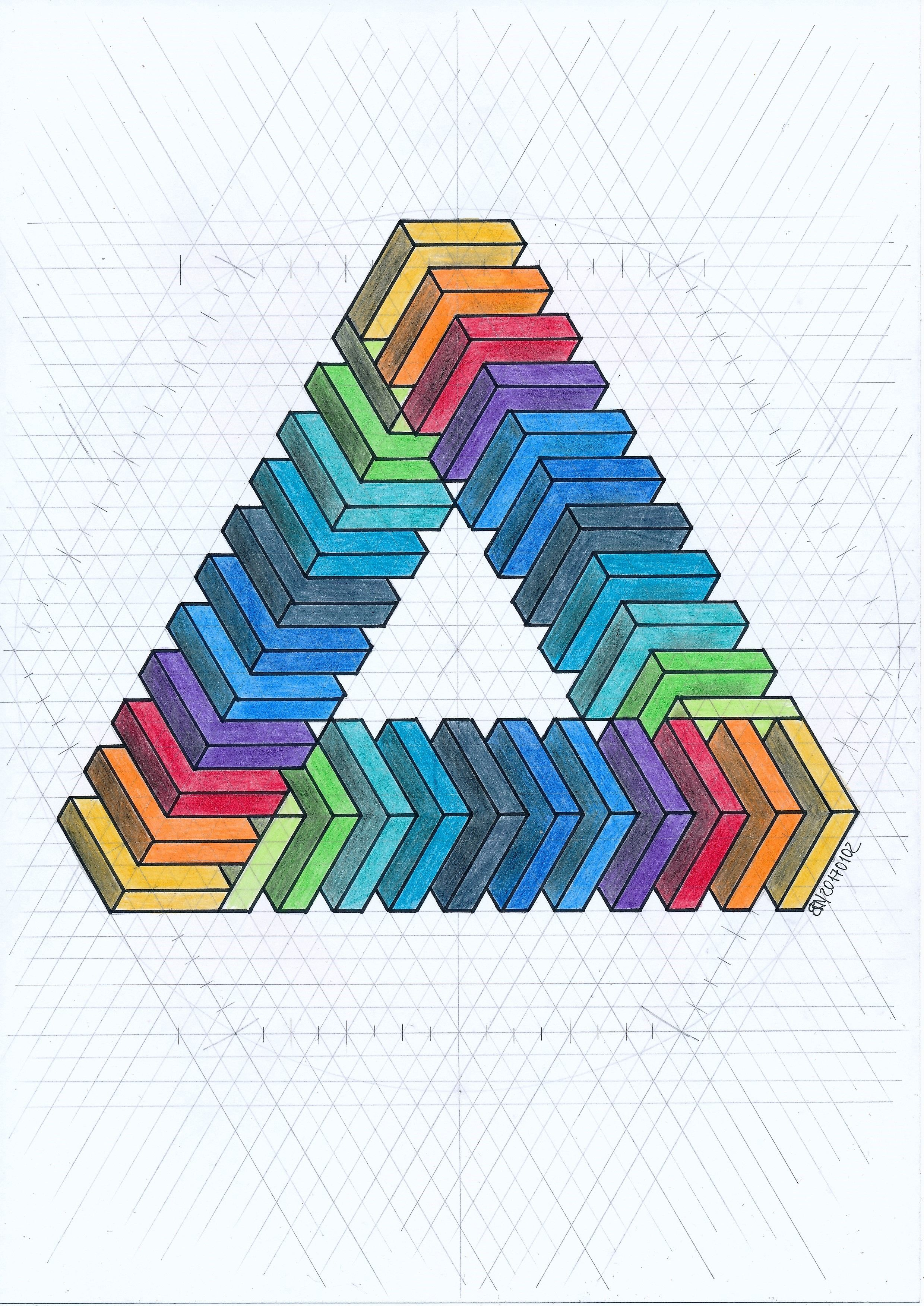 Isometric Penrosetriangle Geometry Symmetry Pattern