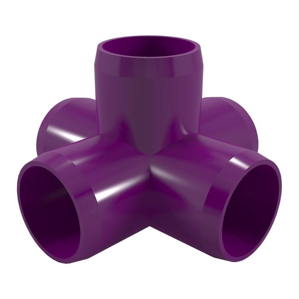 Formufit 1 1 4 In Furniture Grade Pvc 5 Way Cross In Purple 4 Pack Pvc Fittings Furniture Grade Pvc Pvc