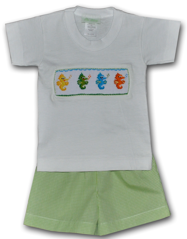 This and That For Kids - Hand Smocked Seahorses Green Boy's Short Set, $34.00 (http://www.thisandthatforkids.com/hand-smocked-green-sea-horse-boys-short-set/)