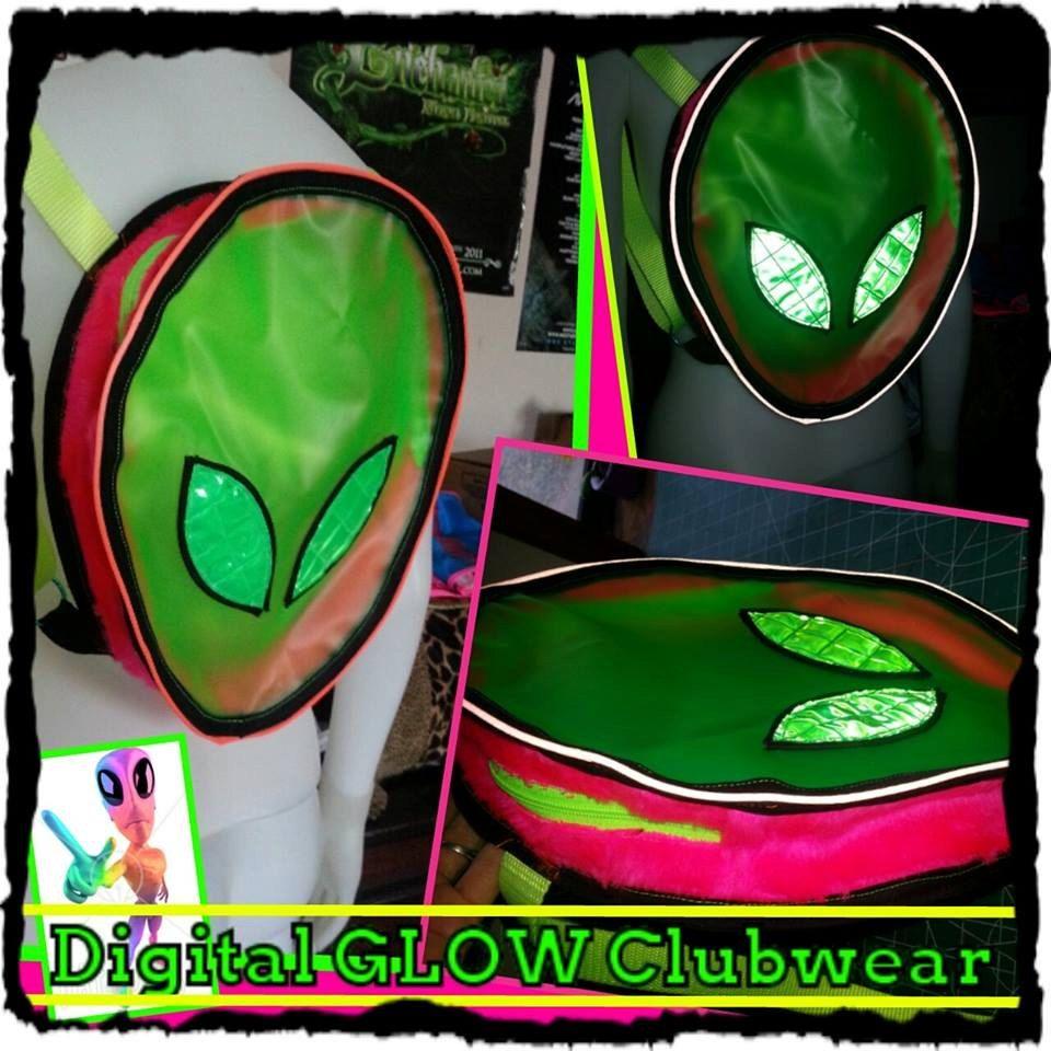 Rainbow Reflective Alien UV Vinyl backpack bag . rave festival burning man