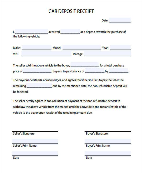 How To Make A Receipt For Payment Down Payment Or Deposit Receipt Template Example For Buying Vehicle .