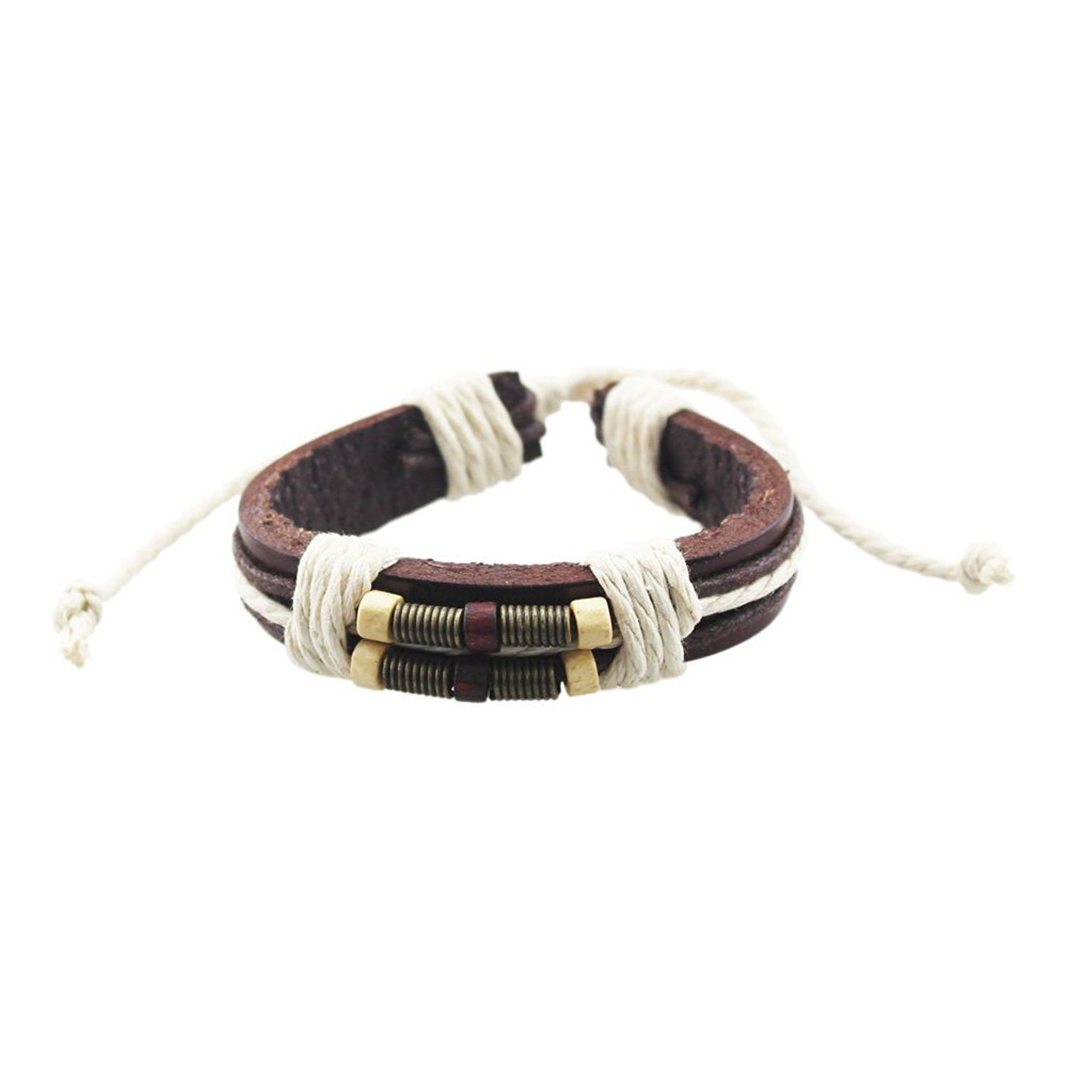 TEMEGO Jewelry Mens Leather Rope Bradied Bracelet Stainless Steel Clasp,8.26 Inch,Black Silver