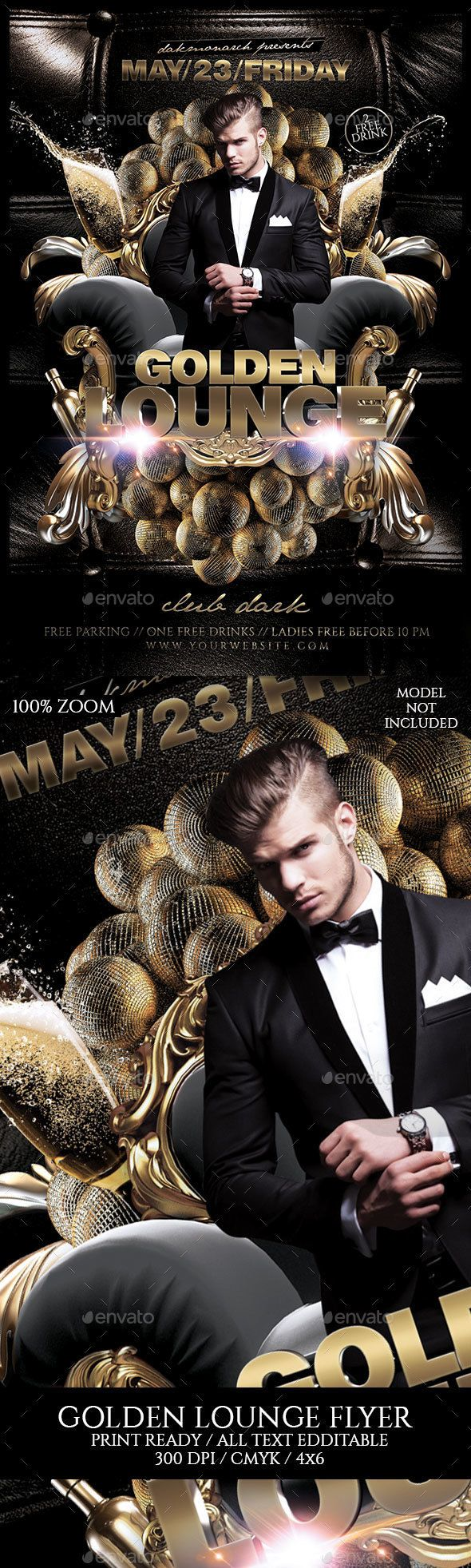 Golden Lounge  Flyer Template Edit Text And Template