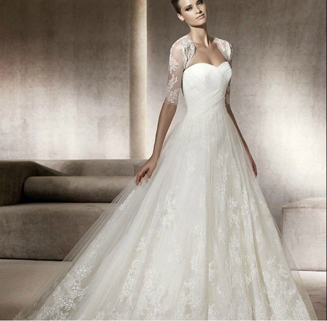 Decent A-line Sweetheart Satin Overlay Lace Chapel Train Wedding ...