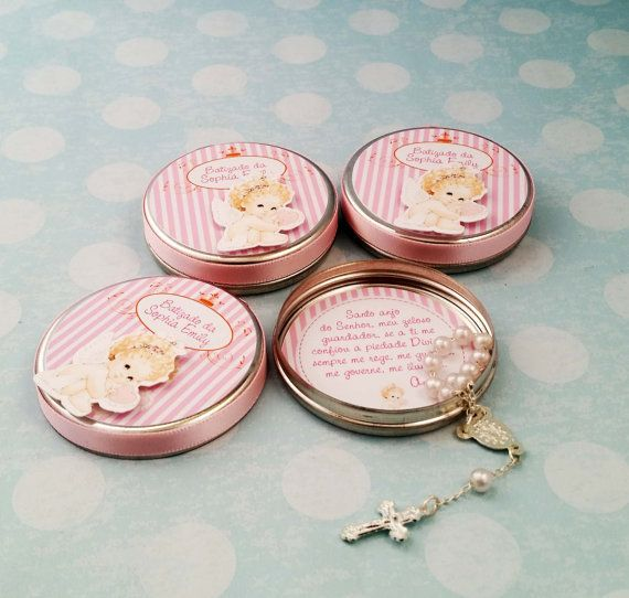20 personalized metal round tin with mini rosary  by ArtPaperParty