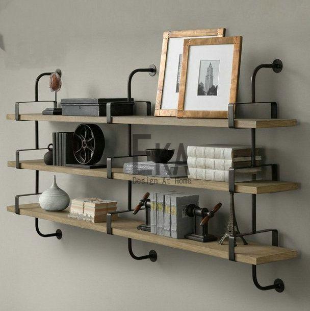 pas cher loft rétro style clins de bois étagère murale racks de