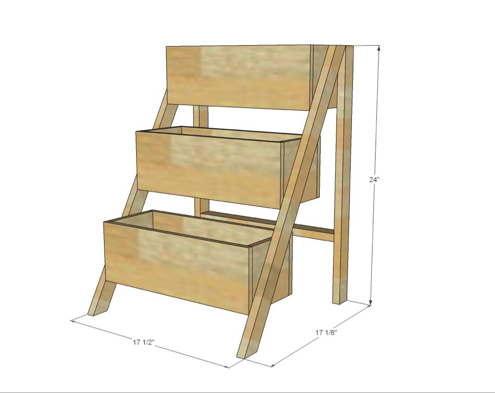 $10 Cedar Tiered Flower Planter or Herb Garden is part of Flower planters, Diy herb garden, Diy garden projects, Diy planters, Garden boxes diy, Diy patio furniture - make your own vertical tiered planter for flowers or herbs free plans anawhite com