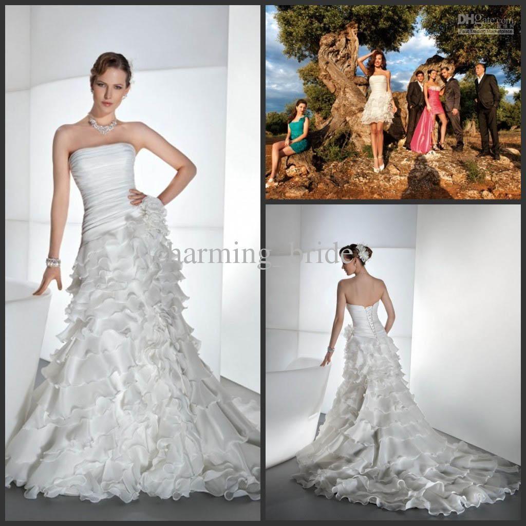 Modern A Line Strpless Demetrios Wedding Dresses 2 Piece
