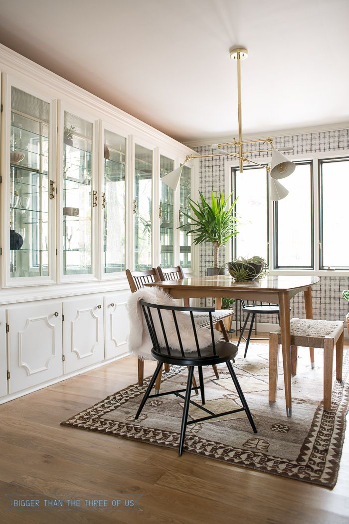 Eclectic Mid Century Dining Room Formal With Built In China Cabinet And Vintage Rug