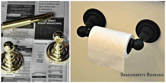 Serendipity Refined How To Update Oak And Brass Bathroom Fixtures With Spray Paint And Chalk Paint Brass Bathroom Fixtures Brass Bathroom Bathroom Fixtures