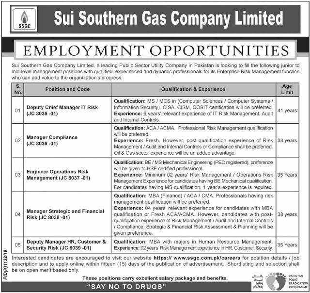 Sui Southern Gas Company Limited Jobs 2019 Apply OnlineSui