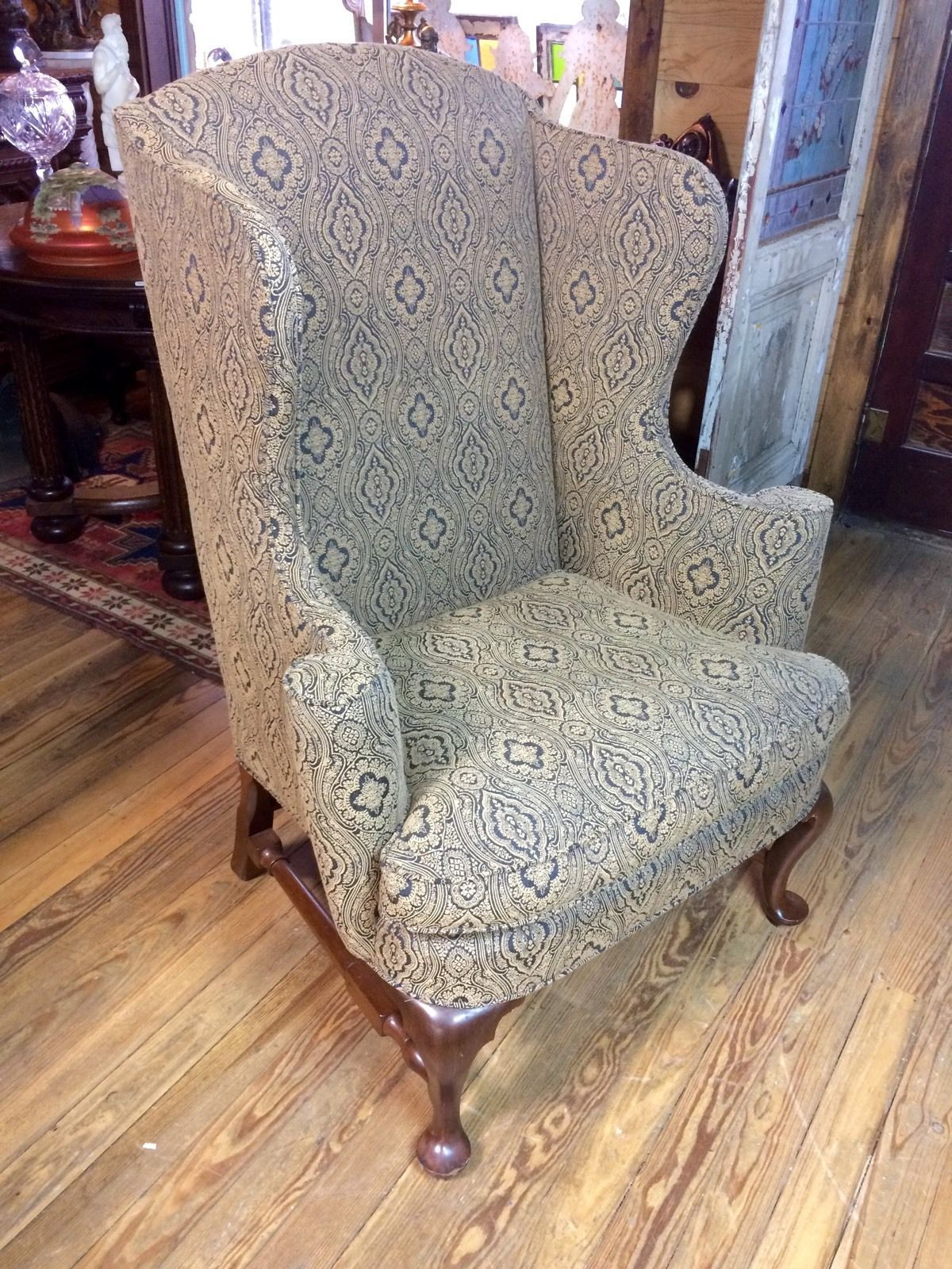 Superior Hickory Chair Company Queen Anne Wing Back Chair