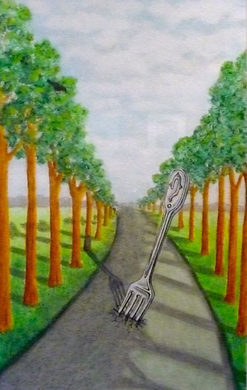 """The original oil pastel is """"Fork in the road."""""""