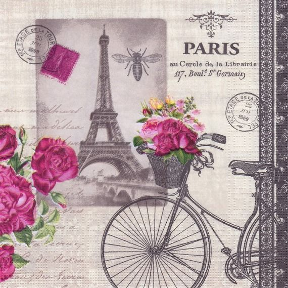 tr s jolie serviette carte postale paris bld st germain v lo fleuri tour eiffel technique et. Black Bedroom Furniture Sets. Home Design Ideas