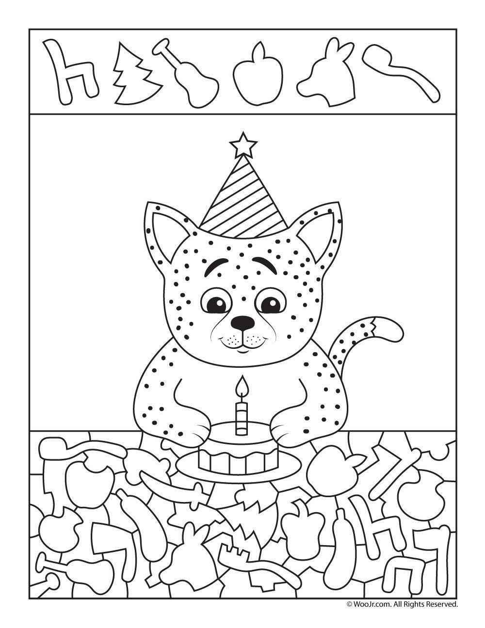 Birthday Cat I Spy Worksheet Woo Jr Kids Activities Hidden Pictures Hidden Picture Puzzles Activities For Kids