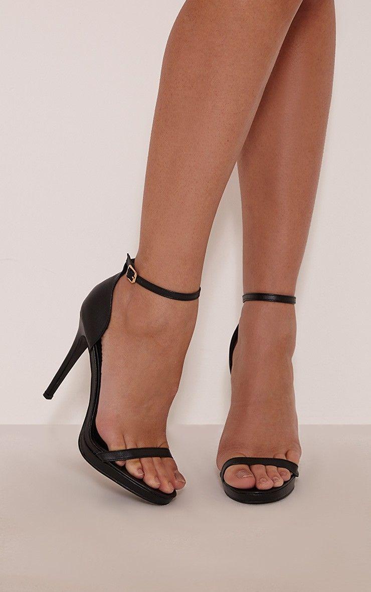 7c002190fb3 Enna Black Single Strap Heeled Sandals
