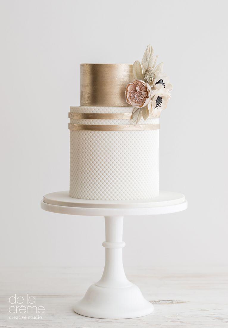 White and gold wedding cake with blush sugar flower bouquet. | Heidi ...