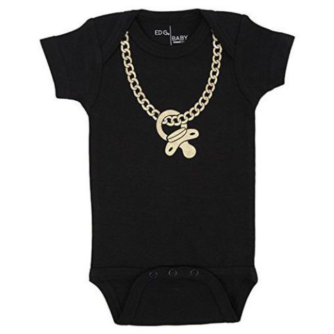ecbee5a31 Black Gold Chain Onesie You need to make sure your baby sports some  bling-a-ling so the room stops when your baby is strolled in.