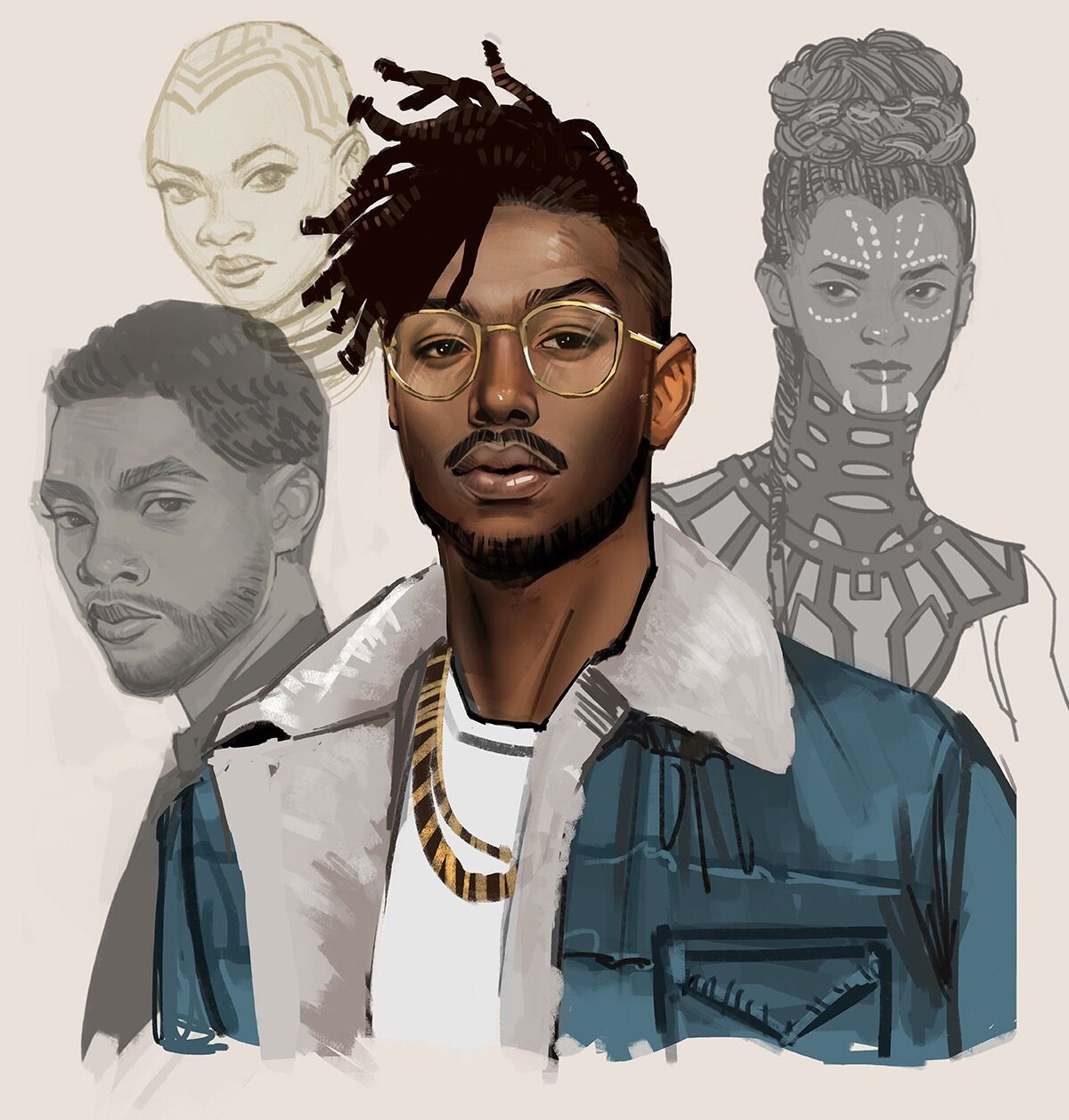 killmonger art by mstrmagnolia prawnm33 black panther okoye shuri t 39 challa erik black art. Black Bedroom Furniture Sets. Home Design Ideas