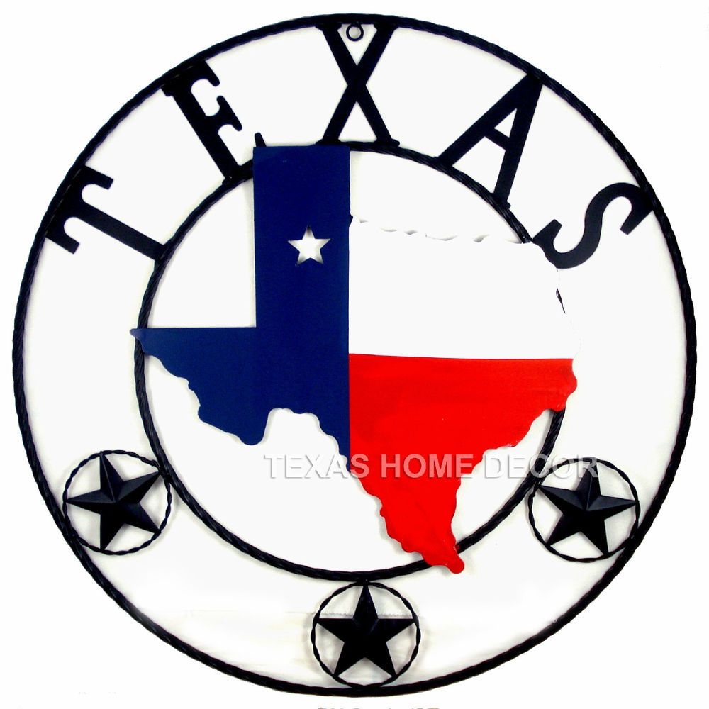 24 Metal Texas Star Rope Ring Flag Map Outline Circle With Stars Rustic
