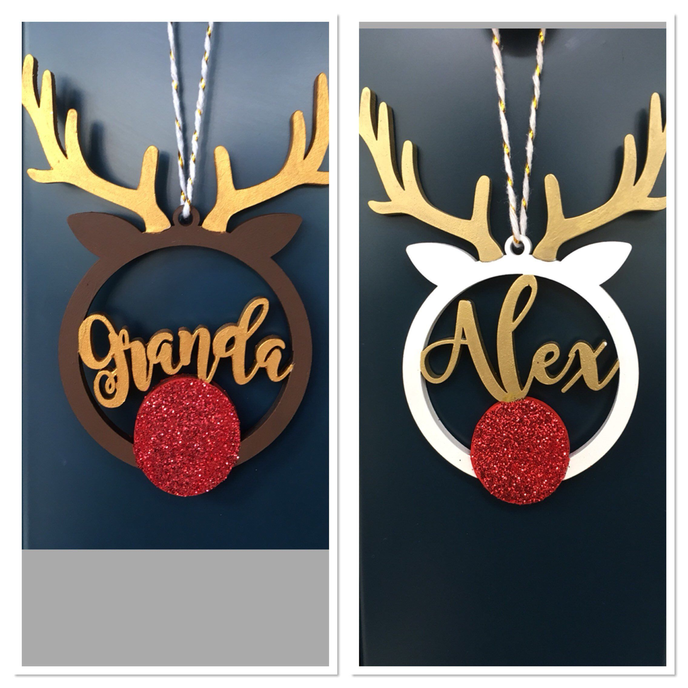 Personalised Christmas Reindeer Snow globe Bauble Christmas tree Decoration